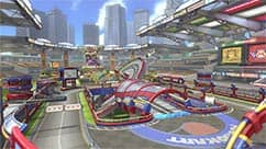 The Battle Stadium course is set in a stadium and features an anti-gravity ring.